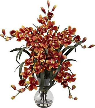 Nearly Natural 1300-BG Large Cymbidium with Vase Arrangement, Burgundy
