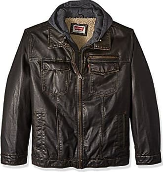 Levi's Mens Vintage Deer Faux Leather Hooded Trucker with Full Sherpa Lining, Dark Brown, 3X BIG