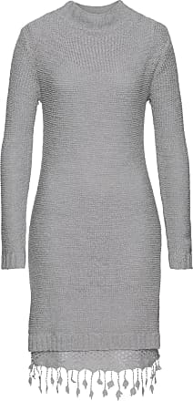 f8592ae2b6d6 Bonprix Dam Stickad klänning med spets i grå lång ärm - RAINBOW