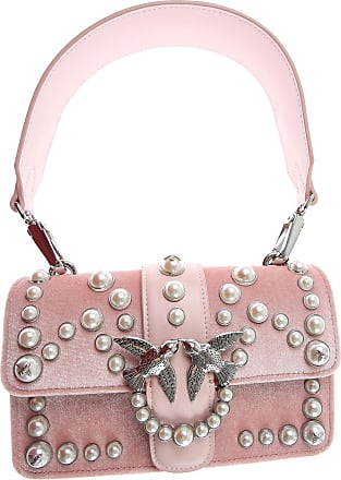 Pinko Shoulder Bag for Women On Sale, Pearl Rose, Velvet, 2017, one size