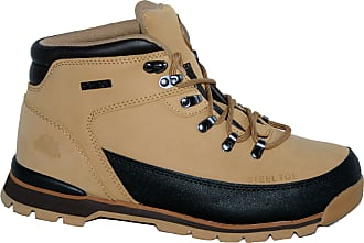 Groundwork Ladies Work Boots, Ladies Steel Toe Caps, Lace UP With Tread Sole (UK8, Honey)