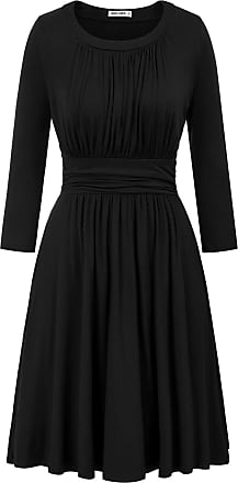 Grace Karin Ladies Wedding Guest Dress A-line Casual Daily Pleated Dress 50s Dinner Dance Dress Black L