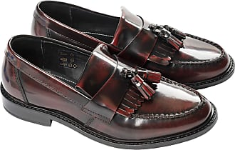 Ikon Mens Selecta Casual Tassel Fringe Leather Loafers - Black - 12UK