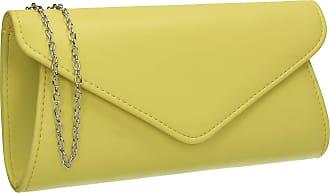 Swankyswans Lora Faux Leather Envelope Clutch Bag Lemon Yellow