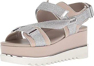 Guess Guess Womens laureta Wedge Sandal, Silver, 8.5 M US