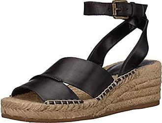 77191b7e0fa1 Nine West Womens EDWISHA Leather Wedge Sandal Black 10.5 M US