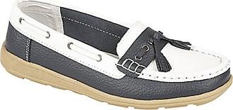 Boulevard Womens/Ladies Saddle/Tassle Boat Shoes (7 UK) (White/Navy Blue)
