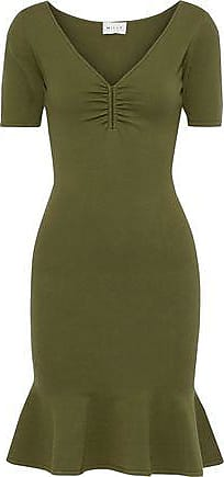 Milly Milly Woman Fluted Stretch-knit Mini Dress Army Green Size XS