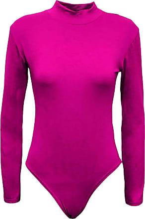 21Fashion Womens Long Sleeve Plain High Turtle Neck Bodysuit Ladies Leotard Look Party Wear Top Cerise Small/Medium UK 8-10