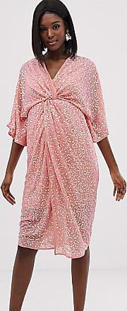 Asos Maternity ASOS DESIGN Maternity scatter sequin knot front kimono midi dress-Pink