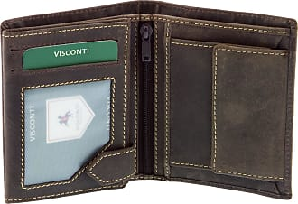 Visconti Mens Distressed Leather Wallet for Credit Cards, Banknotes & Coins - Oil Brown (708)