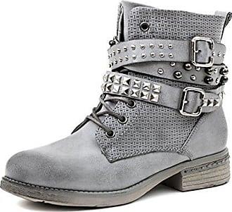 c2eb4a5024b6b4 Marimo Damen Nieten Stiefel Nieten Biker Boots mit Schnallen Stiefeletten  in Lederoptik Grau 37