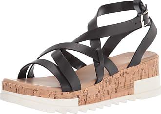 Yoki Womens BRENDA-55 Wedge Sandal, Black, 4.5 UK