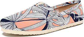 Tizorax Palm Leaves Mens Slip on Loafers Casual Canvas Shoe Flat Boat Shoes