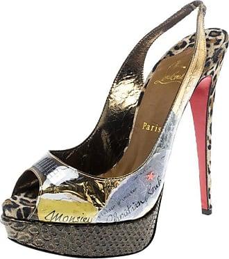 fc1f0be848c5 Christian Louboutin Khaki Pvc Eco Trash Peep Toe Platform Slingback Sandals  Size