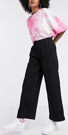 Noisy May wide leg jeans with paper bag waist in black