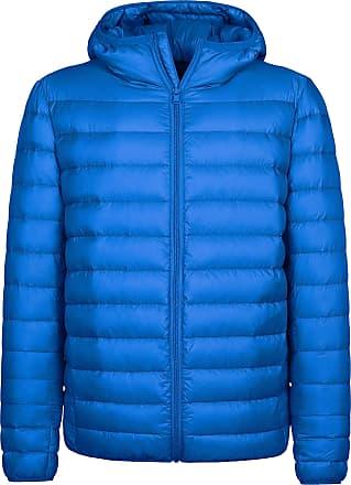 Wantdo Mens Hooded Packable Light Weight Down Jacket Sapphire Blue Medium