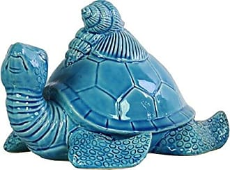 Urban Trends Collection Urban Trends Ceramic Flatback Sea Turtle Figurine with Conch Shells on Back Gloss Finish Turquoise, Turquoise
