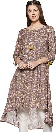 Indigo Womens Rayon a-line Kurti (SS19/IND-522_ Brown_ L)
