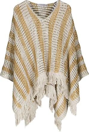 Fabiana Filippi striped poncho - Brown