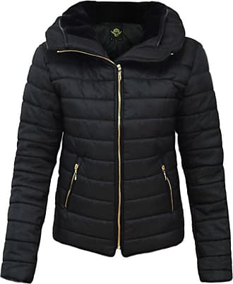 Parsa Fashions Malaika Ladies Quilted Padded Puffer Bubble Fur Collar Warm Thick Womens Jacket Coat - Available in Plus Sizes (Small to XXXXL) UK 8-24 (XXXL, Black)