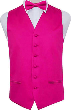 DQT Plain Glossy Satin Wedding Waistcoat, Bow Tie & Pocket Square for Men + Free Cufflinks | Hot Pink 50