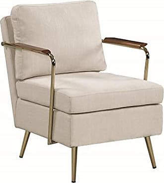 Coaster Fine Furniture Scott Living 903040 Upholstered Accent Chair, Beige/Gold