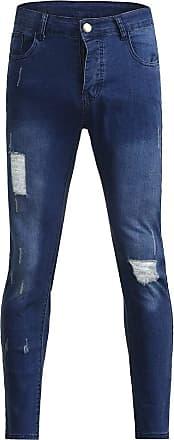 NPRADLA Mens Jeans Destroyed Blobs Holes Cracks Stone Washed Denim Pants Mens Autumn Denim Cotton Straight Hole Pocket Trousers Distressed Jeans Pants