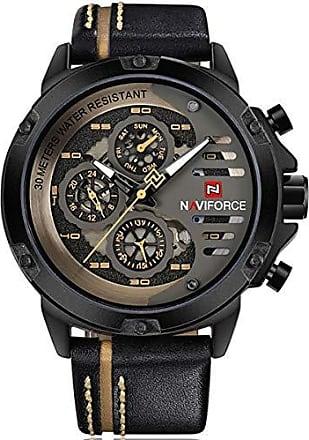 NAVIFORCE Relógio Masculino Naviforce NF9110 BYBN Pulseira em Couro - Preto e Dourado