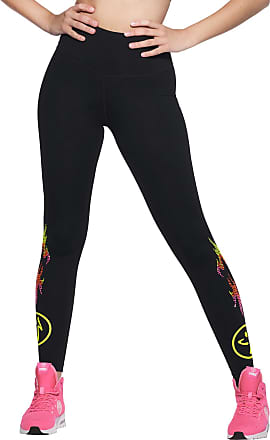 Zumba Athletic Sparkle Workout High Waisted Leggings with Swarovski Crystals, Bold Black 0, L