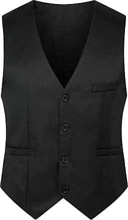 H&E Mens Sleeveless V Neck Single Breasted Pocket Waistcoat Black XL