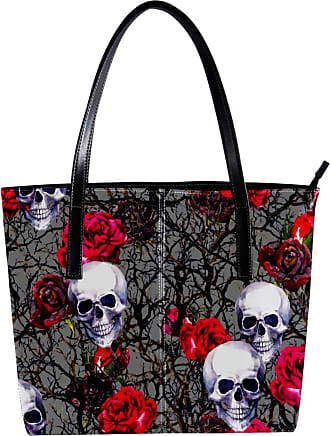 Nananma Womens Bag Shoulder Tote handbag with Skulls Rose Flowers And Branches Pattern Zipper Purse PU Leather Top-handle Zip Bags