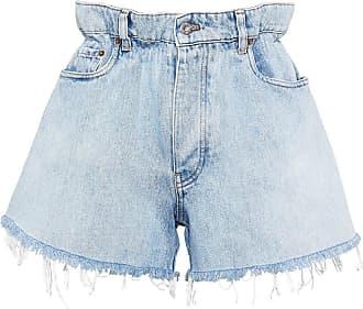 Miu Miu Short jeans com cintura alta - Azul
