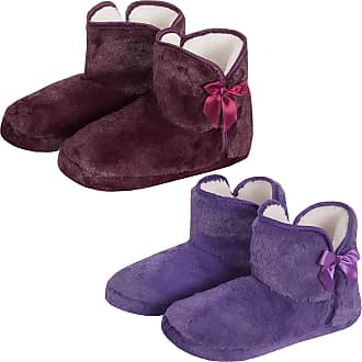 Forever Dreaming Womens Faux Fur Slipper Boots | Memory Foam Insole | Sizes 3-8 | Ribbon Slip On 2PACK 5-6