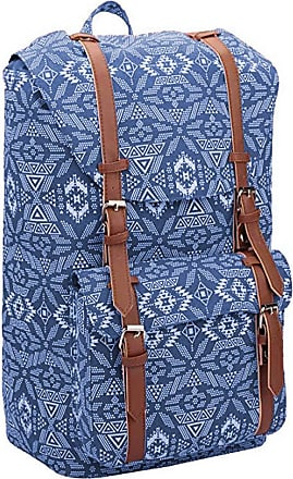 Quenchy London Backpack Casual Daypack for Girls and Women, Medium Canvas School Size A4 Bag 45cm x30x9 25 Litre QL916 (Navy Geometric)