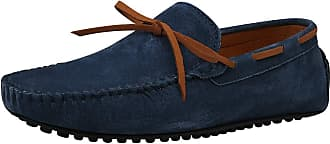 Jamron Mens Suede Leather Handmade Moccasins Comfortable Carpet Slippers Non-Slip Boat Shoes Casual Loafer Flats Navy SN19077 UK10