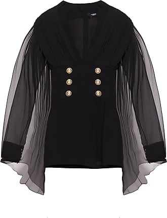 Balmain Dress With Decorative Sleeves Womens Black