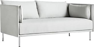 HAY Silhouette 2 Sitzer Sofa Füße Stahl - hellgrau/Stoff Romo Linara 311/Keder Romo Linara 311/Gestell Stahl verchromt