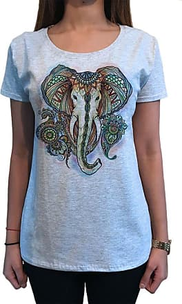 Irony Womens T-Shirt Elephant Ganesh Ethnic Pattern Brushed Effect Aztec TS1107 (Grey, Medium)