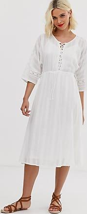 Asos Midi-jurk met kanten inzetstukken en rijgveter aan de voorkant-Wit