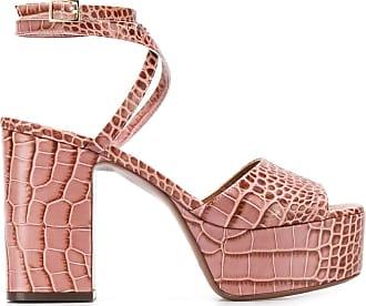 L'autre Chose Sandália plataforma com efeito de pele de crocodilo e salto 100mm - Rosa