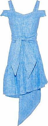 Paper London Paper London Woman Cold-shoulder Asymmetric Linen Dress Light Blue Size 10