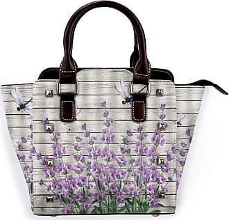 Browncin Purple Flower Spring Summer Dragonfly Purple Floral On Vintage Wooden Rustic Nature Detachable Fashion Trend Ladies Handbag Shoulder Bag Messenger Bag