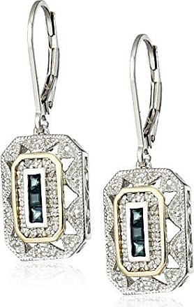 Amazon Collection Sterling Silver and 14k Yellow Gold Blue Sapphire with Diamond-Accent Art Deco-Style Drop Earrings (0.12 cttw, I-J Color, I3 Clarity)