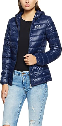 Armani EA7 Womens Train Core Hoodie Jacket Quilted, Navy Blue, Small