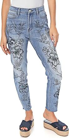 Desigual Calça Jeans Desigual Skinny Cropped Hibiscus Azul