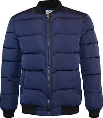 Yonglan Mens Padded Down Jacket Winter Baseball Collar Warm Puffer Coat Navy S