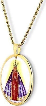 Design Medalhas Pingente Medalha Nossa Senhora Aparecida Ouro oval