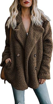 Yidarton Womens Winter Teddy Bear Coat Ladies Fuzzy Fleece Lapel Long Sleeve Outwear Jacket Cardigan (Brown, X-Large)