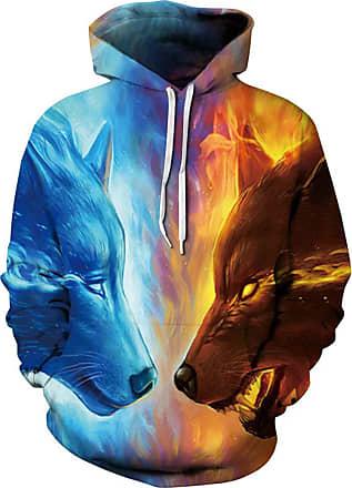 Ocean Plus Mens Hoodie 3D Graphic Hoodie with Kangaroo Pocket Hoody Sweat Hood Sweatshirts (XXL/3XL (Chest: 126-146CM), Icefire Wolves)